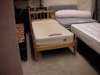 Pine single bed frame with Silentnight beds mattress