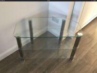 TV stand 3 shelves glass