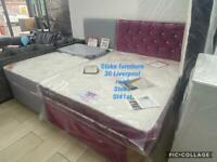 BRAND NEW DOUBLE VELVET BEDS WITH MATTRESS AND HEADBOARD. REDUCED TO CLEAR.