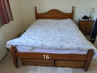 Double Bed with Solid Pine Wood frames with 4 Wooden Under Bed Storage drawers