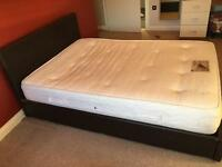 Double brown leather ottoman storage bed with mattress