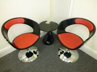 Trendy swivel armchairs (black-red faux leather) lounge chairs, and coffee table (high gloss)