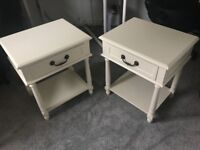 Set of Two White Bed Side Tables with Drawer - Pair