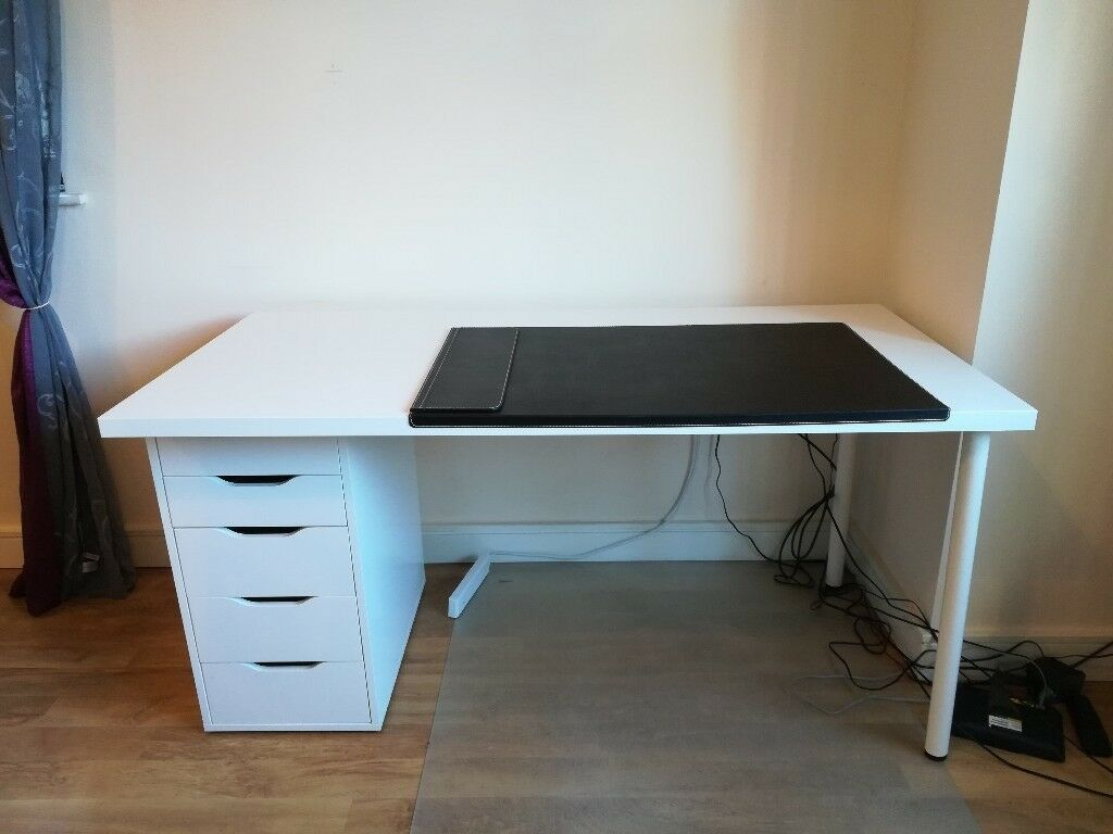 Ikea desk linnmon alex white plus desk pad and floor protector