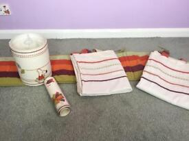 Mamas and Papas Curtains, cot bumper, light shade