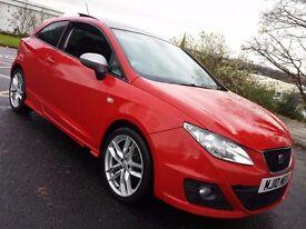 2010 SEAT IBIZA FR CR TDI RED,140 BHP,10 MONTHS MOT,PAN ROOF,LOW MILEAGE,65K,PX.R32,GTI,VRS,S3,VXR..
