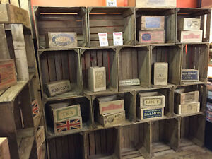 6 X Vintage Rustic Wooden Farm Apple Crate - Display, shop front, Shelving.