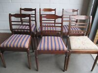 SET OF SIX 6 VINTAGE MAHOGANY DINING CHAIRS WITH INLAY DETAIL FREE DELIVERY