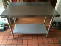 Vogue Stainless Steel Prep Table With Upstand 1200mm - Good Condition
