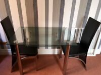 Beautiful Glass Table and 2 Chairs