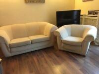 Cream sofas x2 and armchair set, together or separately
