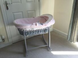 Beautiful wicker Moses basket -excellent condition.