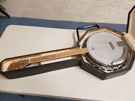 Four string customised banjo with hard case