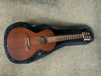 Aria Parlour / small body guitar , with padded gig bag and stand.