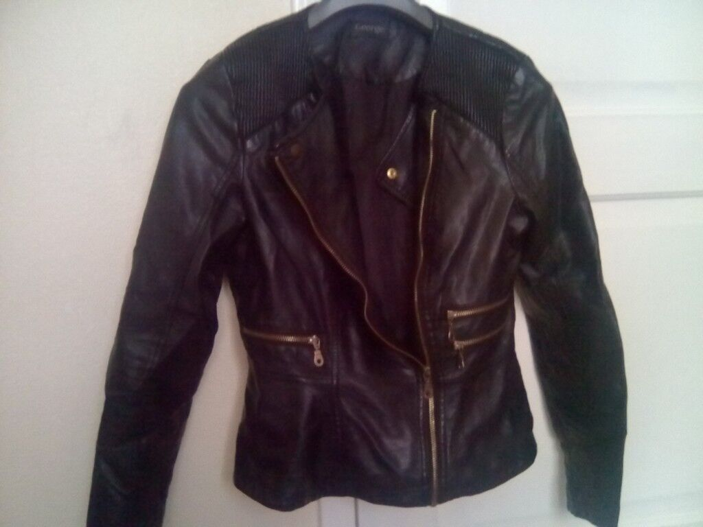 WOMENS BLACK REAL LEATHER JACKET SIZE 10 VGC