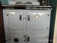 Rayburn oil conversion in pale blue.