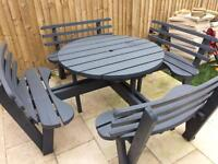 Patio table chair bench set