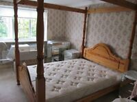Solid Pine 5ft Four Poster with Matress