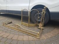 Antique Brass Traditional Fireplace Set / Fireplace Fender Andirons / Fireplace Screen