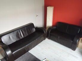 3 + 2 dark brown leather suite.
