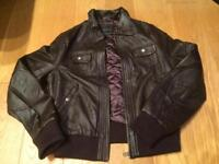 Leather jacket in brown brand new size 14/16