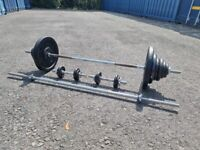 """York Barbell and Dumbbell Set with 92kg 1"""" Plates - DELIVERY POSSIBLE"""