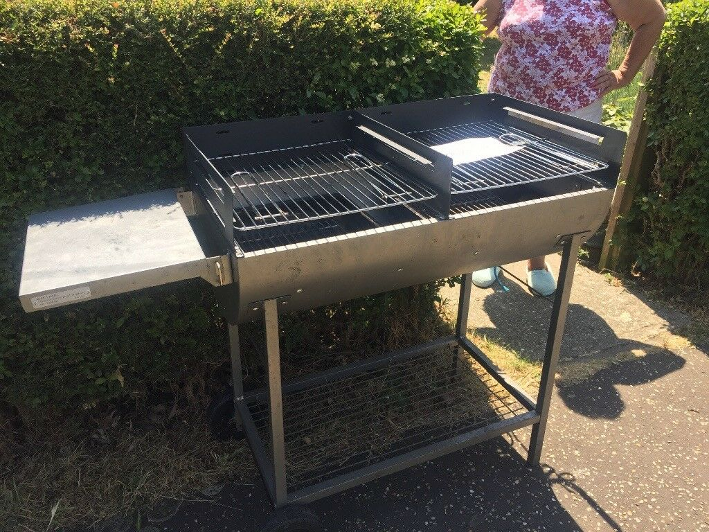 Large Bbq Two Grills Built On Shelf Wheels In One Side So Can Be Easily Moved Only Used Twice