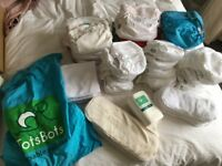 Totsbots Reuseable cloth nappies bundle, 34 nappies plus boosters & liners