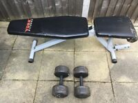 2 x 35kg Dumbbells and York Fitness 13 in 1 Utility Bench