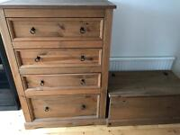 Rustic Style Chest of Drawers and Storage Chest