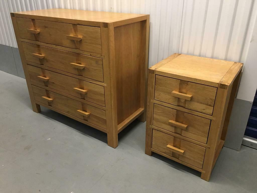 John Lewis Monterey Solid Oak Chest Of Drawers & bedside ...