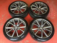 19'' GENUINE AUDI A4 B8 S LINE SPECIAL BLACK EDITION PLUS ALLOY WHEELS TYRES ALLOYS 5x112