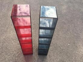 Plastic red and blue dvd shelves