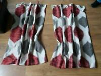 """Red/grey fully lined eyelet curtains 45""""wide x54""""drop"""