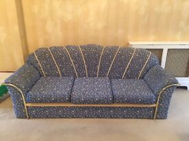 BIG BLUE SOFA SET (USED) - ONE THREE SEATER & TWO INDIVIDUAL ARMCHAIR