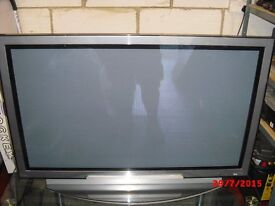"Hitatchi 42"" Plasma TV with 3 tier Alphason glass stand."