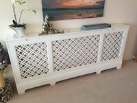 Large satin white radiator cover, suits double radiator