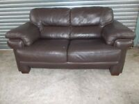 Large Dark Brown Full Hide Leather 2-seater Sofa (Suite)
