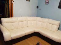 White corner sofa and cuddle chair