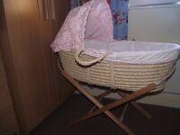 Moses basket, stand & mattress