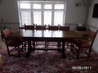 Old Charm solid oak dining table and 6 chairs, excellent condition