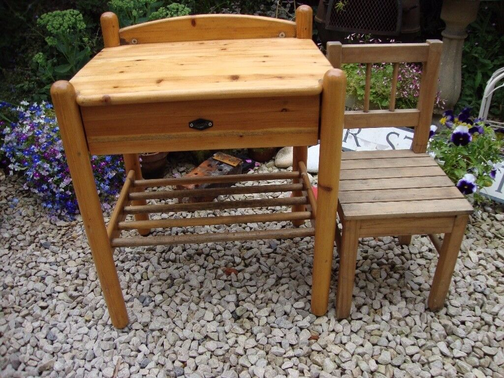 Child's Solid Timber Desk, and Chair