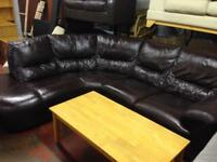 Stunning Brown Leather Corner Suite - Excellent Condition