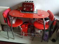 Small Red Dinning table for two + 2 Chairs
