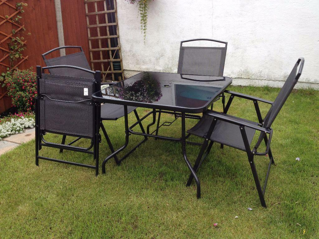 4 seater patio furniture black with parasol in for Outdoor furniture 4 seater