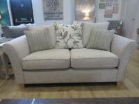 Brand New Ex display 3 + 2 sofa. Corinne Beige and Merida smoke pillows. RRP £1699