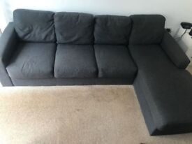 GREY FABRIC RIGHT FACING CORNER SOFA WITH CHAISE - MUST GO ASAP - CHEAP FAST DELIVERY - £275