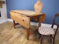 Antique Pine Farmhouse Scrubbed Top Drop Leaf Table Square Seats Four