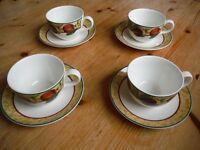 4 x ROYAL DOULTON AUGUSTINE T.C. 1196 CUP and SAUCER, NEVER USED