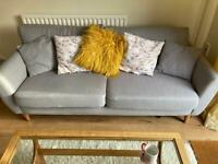 Grey SCS Cookie 3 seater sofa with cushions
